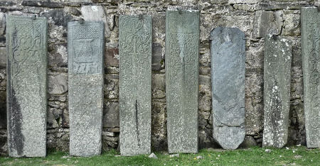 Carved stone slabs from medieval times